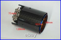 2 x Glossy Carbon Fiber+Grille Blue 70mm/2.7'' Exhaust Tip Pipe For BMW M Series