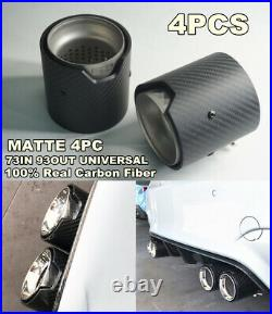 4 Pcs 73mm ID Matte Carbon Fiber Short Exhaust Tip Pipe For BMW M Series F82 F12