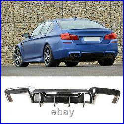 CARBON LOOK Rear Diffuser For 11-16 BMW 5 Series F10 M5 Style QUAD Exhaust Lip