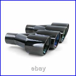 Exhaust 4 pipe duplex tailpipe covers black for BMW 5-series F10 F11 F12 F13