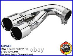 Exhaust tips dual tailpipe trims for BMW 3 series F30 F31 M Performance Look