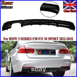 For Bmw Diffuser Rear F30 3 Series M Sport Performance Twin Exhaust Rear Bumper