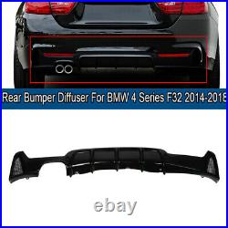 Gloss Black Rear Bumper Diffuser M Twin Exhaust Pipe For BMW F32 4 Series 14-18