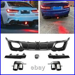 Gloss Black Rear Diffuser + Exhaust For 2019-2021 BMW 3 Series G20 Sport Version
