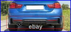 Rear Bumper Diffuser Twin Exhaust Pipe For BMW 4 Series F32 2014+ Glossy BLK SA